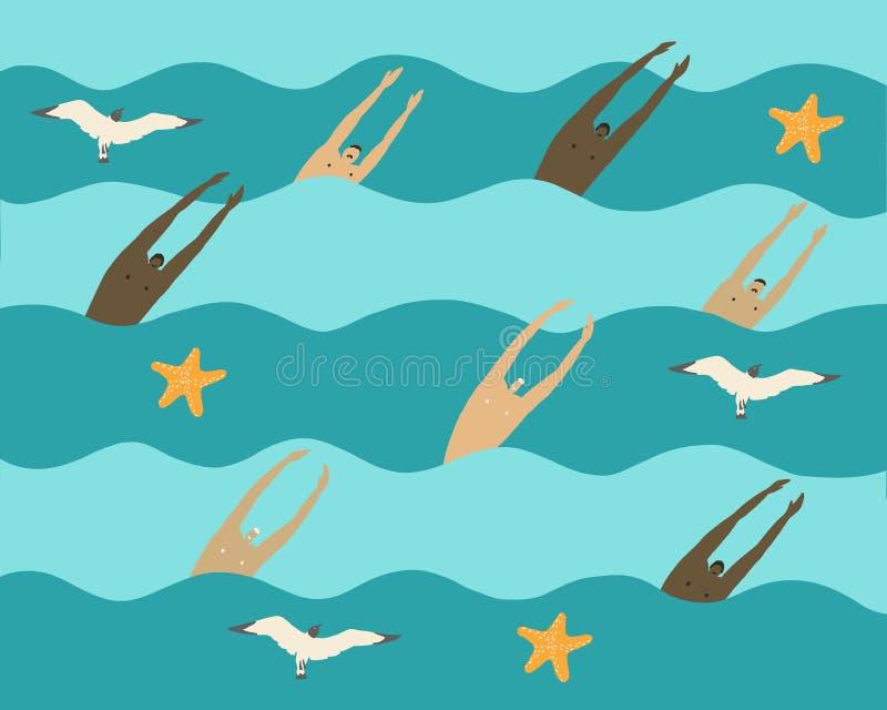 Los hombres nadan en el mar libre illustration