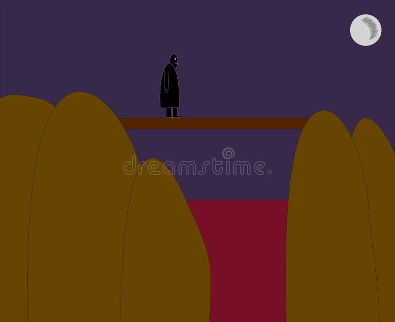 Los hombres negros figuran cruzar el puente del pie sobre la sangre h del agua roja libre illustration
