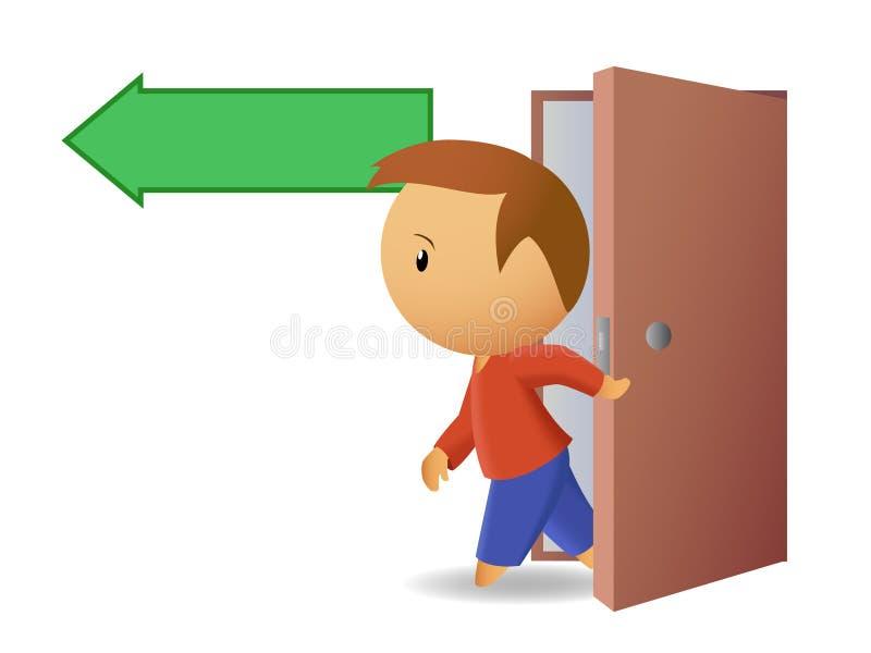 Los hombres salen de la puerta ilustración del vector