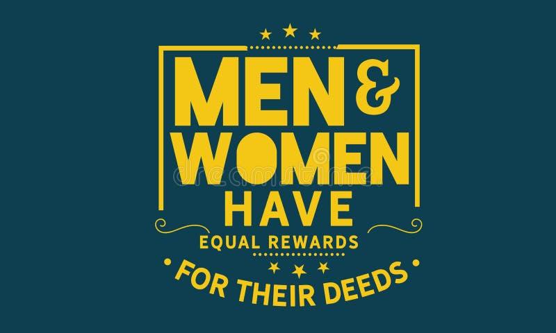 Los hombres y las mujeres tienen recompensas iguales por sus hechos ilustración del vector