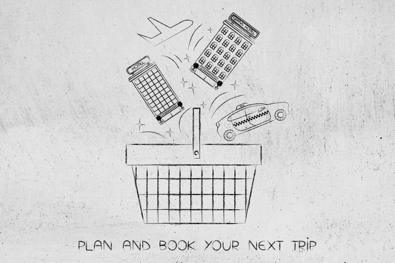 Los hoteles llevan en taxi y el vuelo que entra una cesta de compras, reserva un viaje stock de ilustración