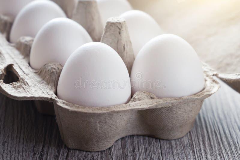 Los huevos blancos del pollo se cierran para arriba entonado imagenes de archivo