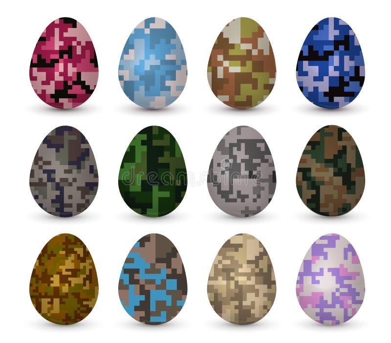 Los huevos coloridos realistas de Pascua fijaron con diverso terraplén de modelo del camo del pixel ilustración del vector