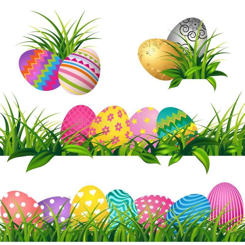Los huevos coloridos y las fronteras de la hierba verde de la primavera fijaron para el día de Pascua ilustración del vector