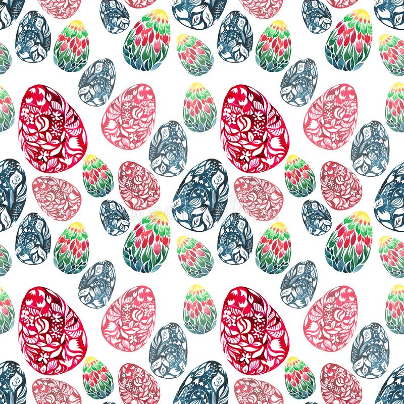 Los huevos de Pascua blandos elegantes herbarios florales preciosos magníficos hermosos modelan bosquejo de la mano de la acuarel ilustración del vector