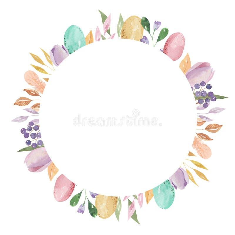 Los huevos de Pascua circundan la pluma de la acuarela del rectángulo del marco que la primavera en colores pastel sale de floral libre illustration