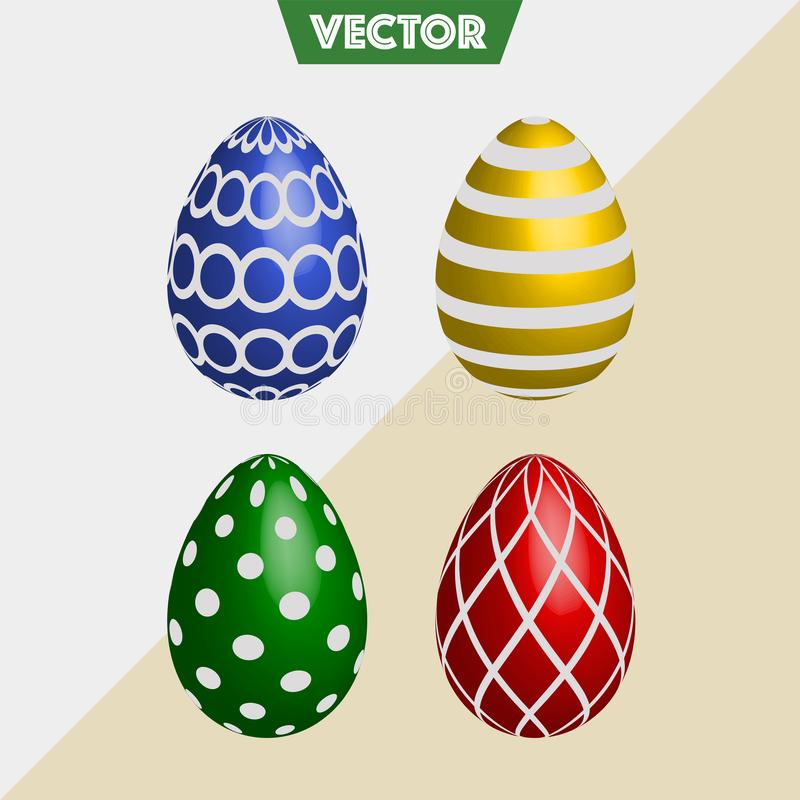 Los huevos de Pascua coloridos del vector 3D mezclaron diseños fotografía de archivo libre de regalías