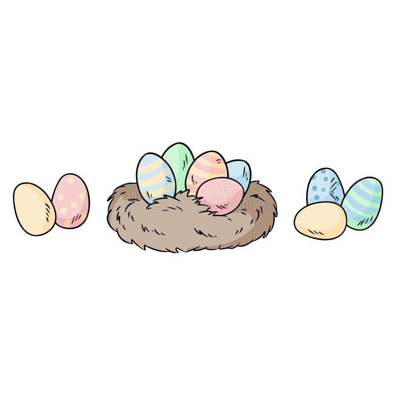 Los huevos de Pascua en p?jaros jerarquizan garabato colorido de la etiqueta engomada stock de ilustración