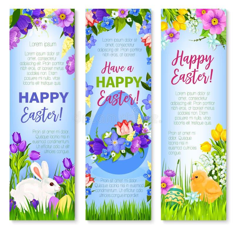 Los huevos de Pascua felices, conejitos vector banderas del saludo stock de ilustración
