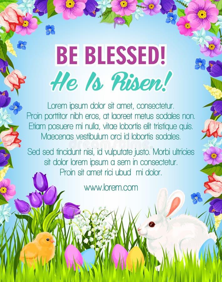 Los huevos de Pascua felices, conejitos vector el cartel del saludo libre illustration