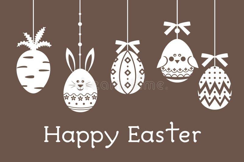 Los huevos de Pascua fijaron con la zanahoria, huevos, pájaro, conejo stock de ilustración