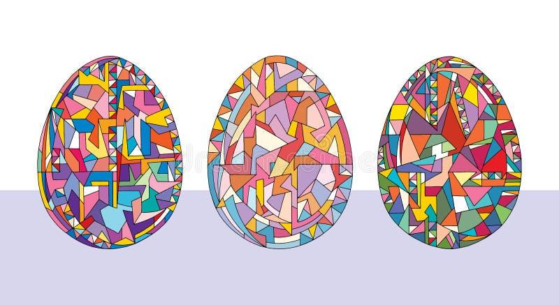 Los huevos de Pascua fijaron ejemplos Colección abstracta exhausta de los días de fiesta de la mano de objetos en estilo moderno libre illustration