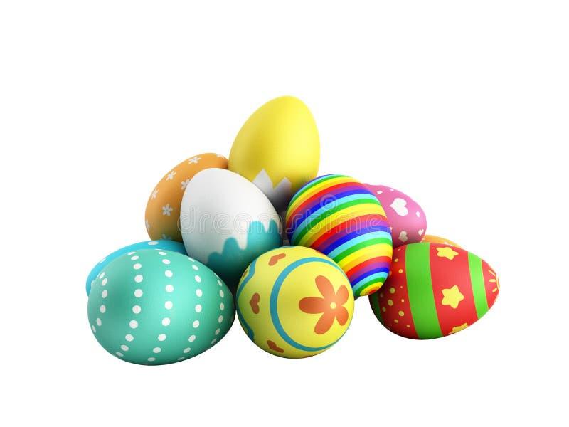 Los huevos de Pascua hechos a mano coloridos perfectos 3d no rinden en un blanco ninguna sombra stock de ilustración