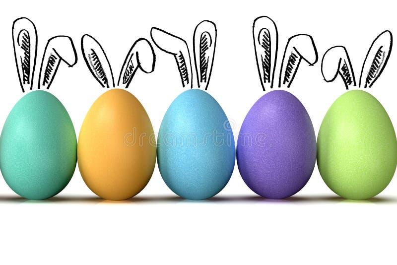 Los huevos de Pascua reman, con los oídos del conejito, en el fondo blanco fotografía de archivo