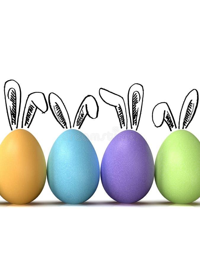 Los huevos de Pascua reman, con los oídos del conejito, en el fondo blanco fotos de archivo