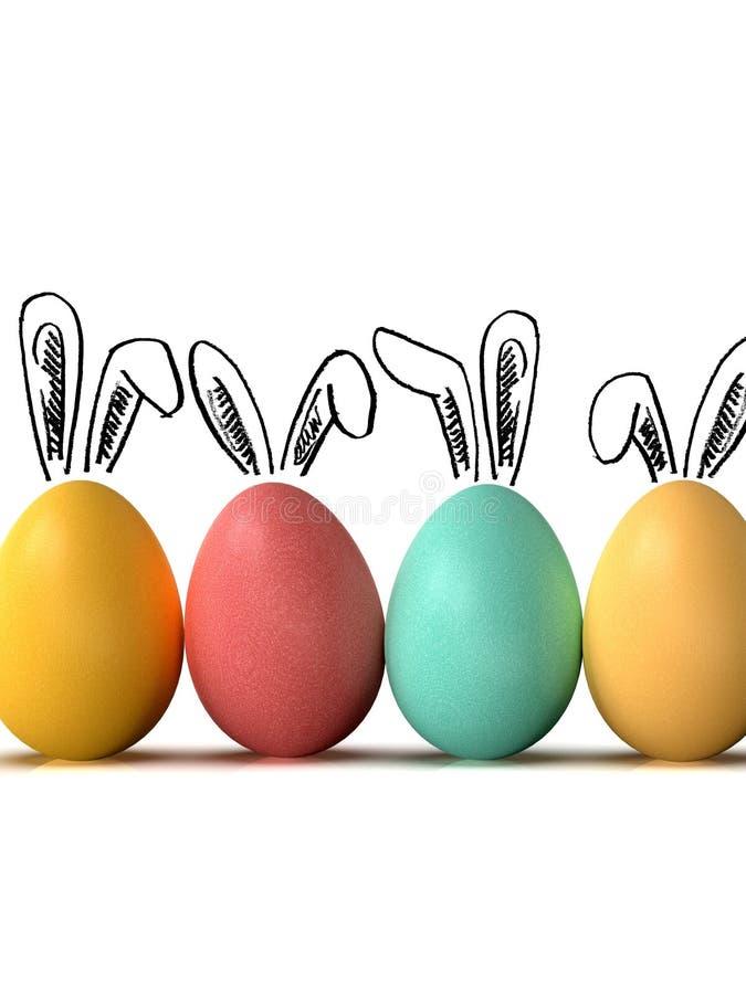 Los huevos de Pascua reman, con los oídos del conejito, en el fondo blanco imagenes de archivo