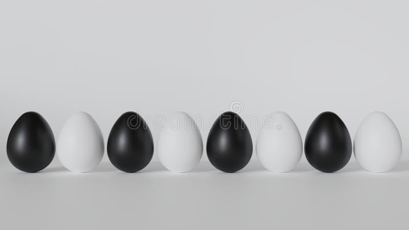 Los huevos son blancos y negros Colocado en fila foto de archivo libre de regalías