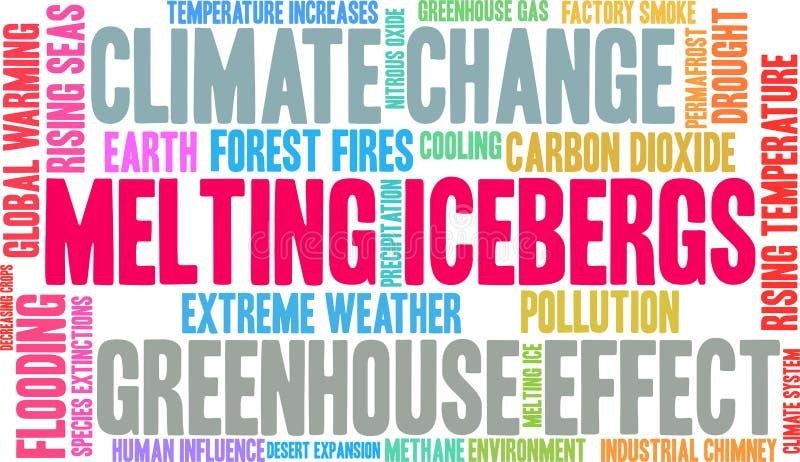 Los icebergs de fusión redactan la nube stock de ilustración