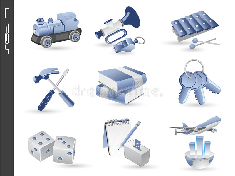 los iconos 3d fijaron 07 stock de ilustración