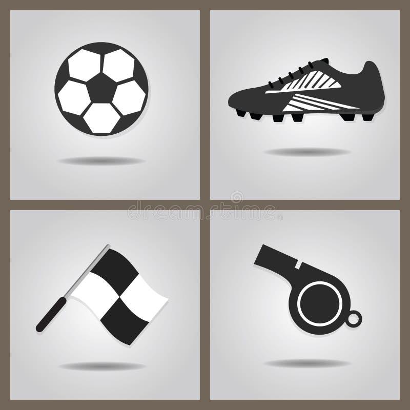 Los iconos abstractos del fútbol fijaron en fondo gris de la pendiente ilustración del vector