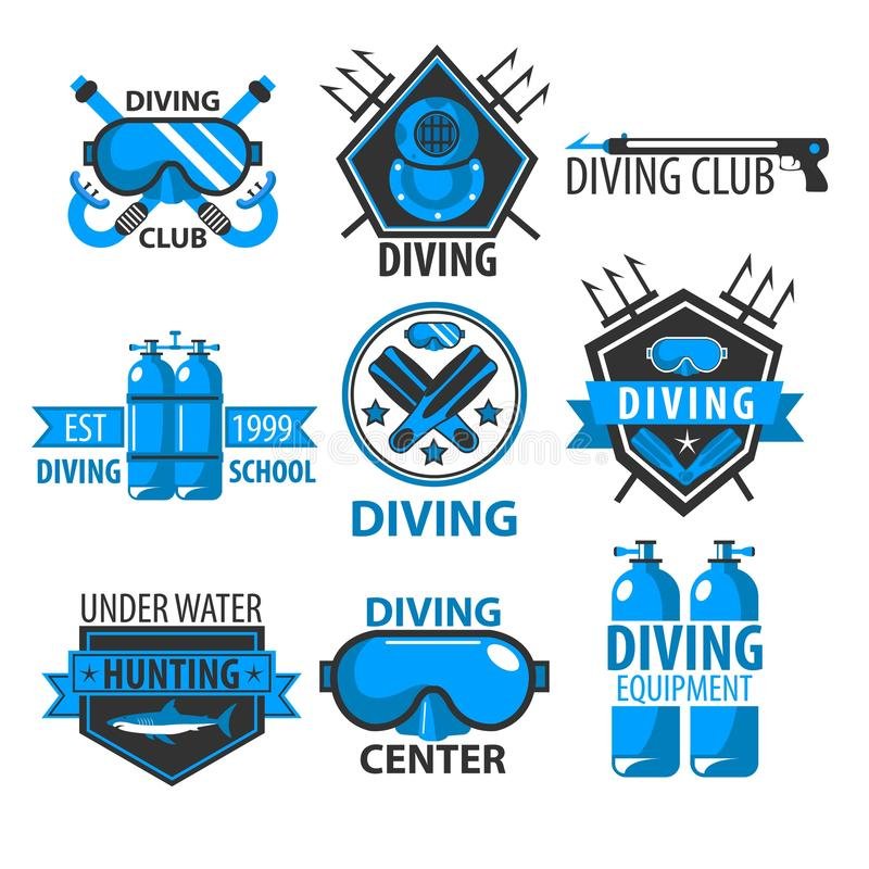 Los iconos aislados club que se zambullen riegan con poca agua el equipo de la natación stock de ilustración