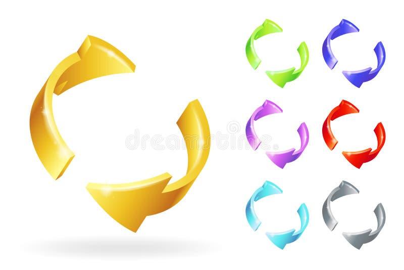 Los iconos aislados los elementos de oro abstractos del diseño de las flechas 3d de la rotación del metall fijaron el ejemplo del stock de ilustración