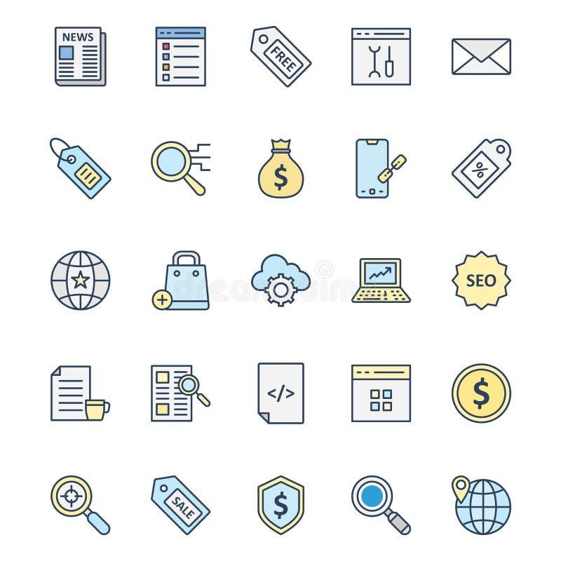 Los iconos aislados márketing en línea del vector fijaron que pueden ser muy fácilmente corregir o modificado ilustración del vector