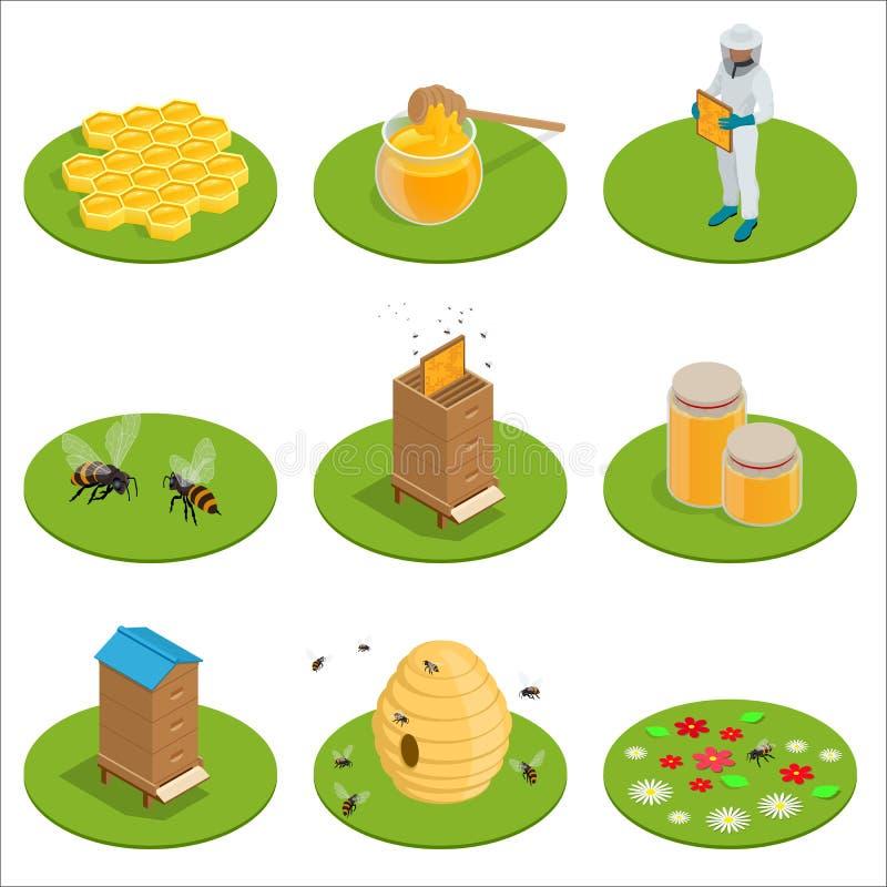 Los iconos aislados miel isométrica fijaron con las abejas, trabajos del apicultor sobre un colmenar, colmena, abeja, panal Ilust ilustración del vector