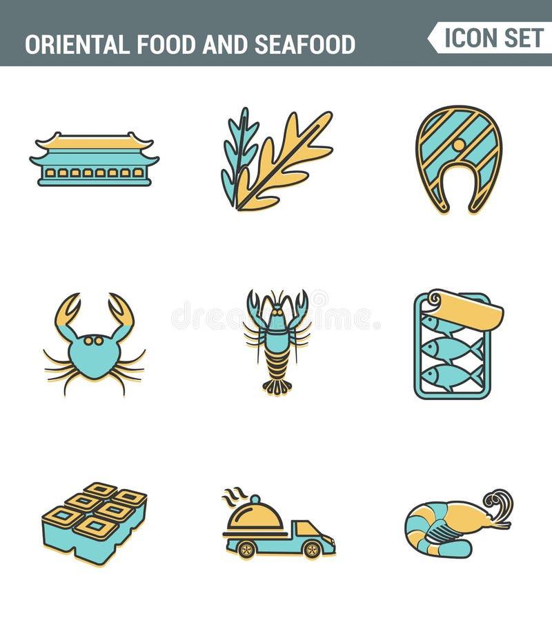 Los iconos alinean calidad superior determinada del rollo de sushi oriental de la comida y de los mariscos que cocina el menú de  stock de ilustración
