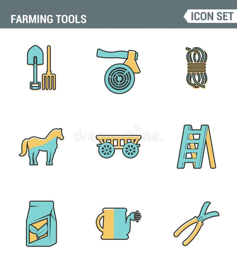 Los iconos alinean la calidad superior determinada de cultivar el equipamiento agrícola del instrumento de las herramientas agríc ilustración del vector