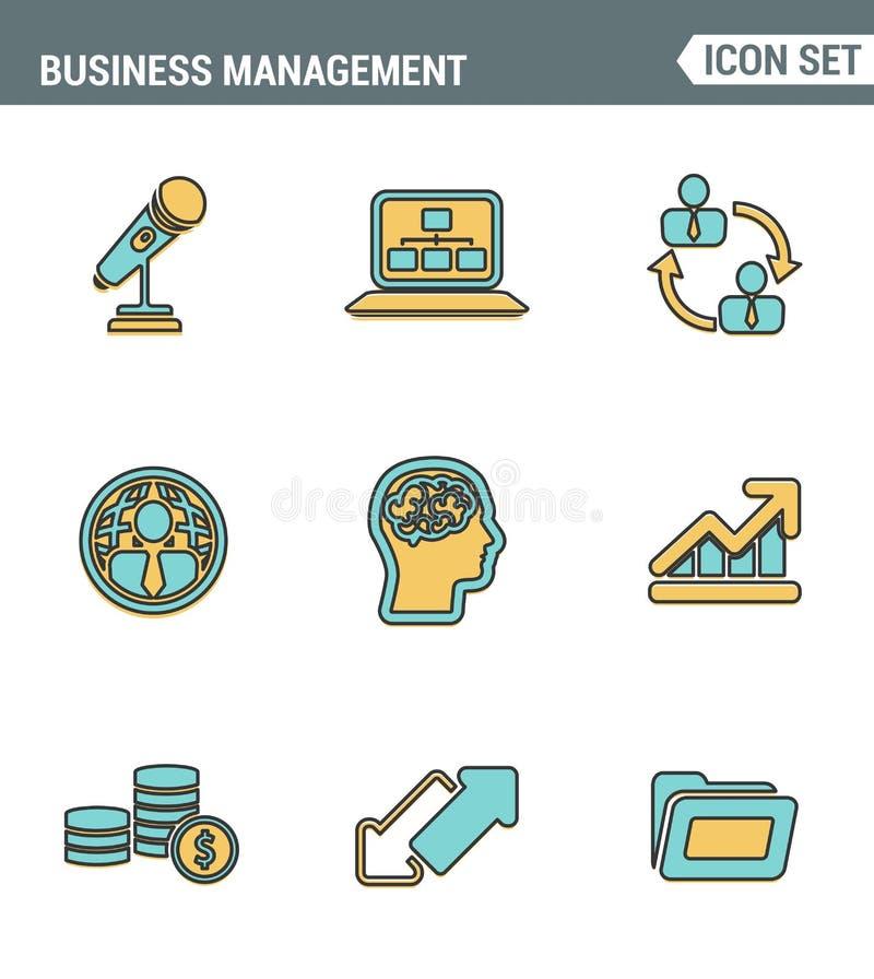 Los iconos alinean la calidad superior determinada de los hombres de negocios de la gestión, organización del empleado Estilo pla ilustración del vector