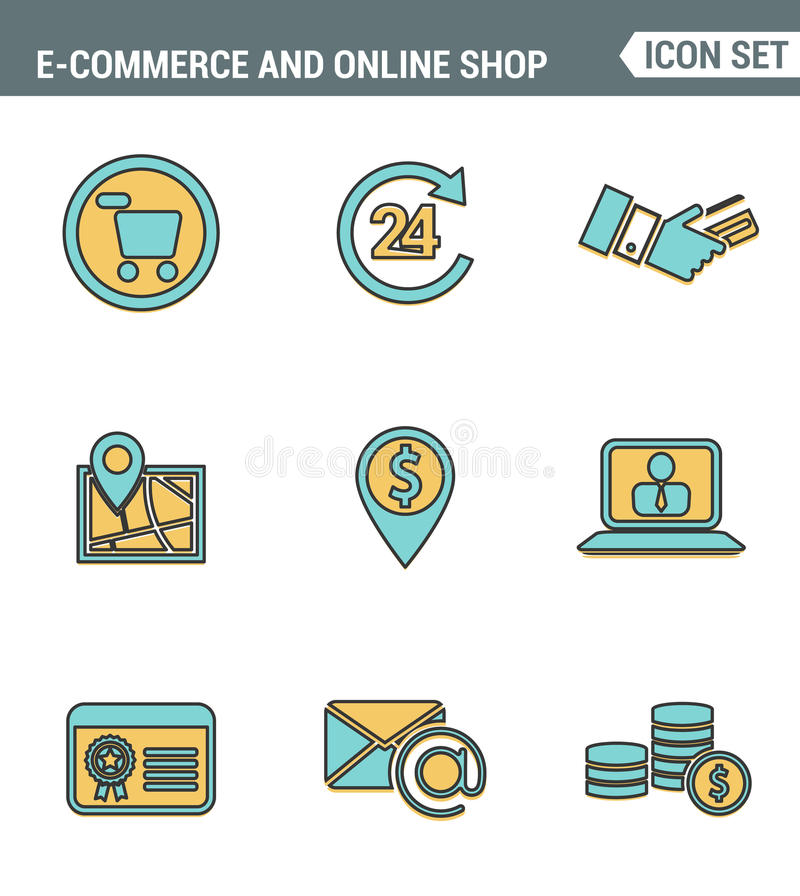 Los iconos alinean la calidad superior determinada del símbolo de las compras del comercio electrónico, de los elementos en línea libre illustration