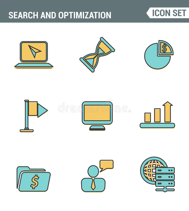 Los iconos alinean la calidad superior determinada del sitio web que busca la optimización del motor, el analytics y la gestión d stock de ilustración