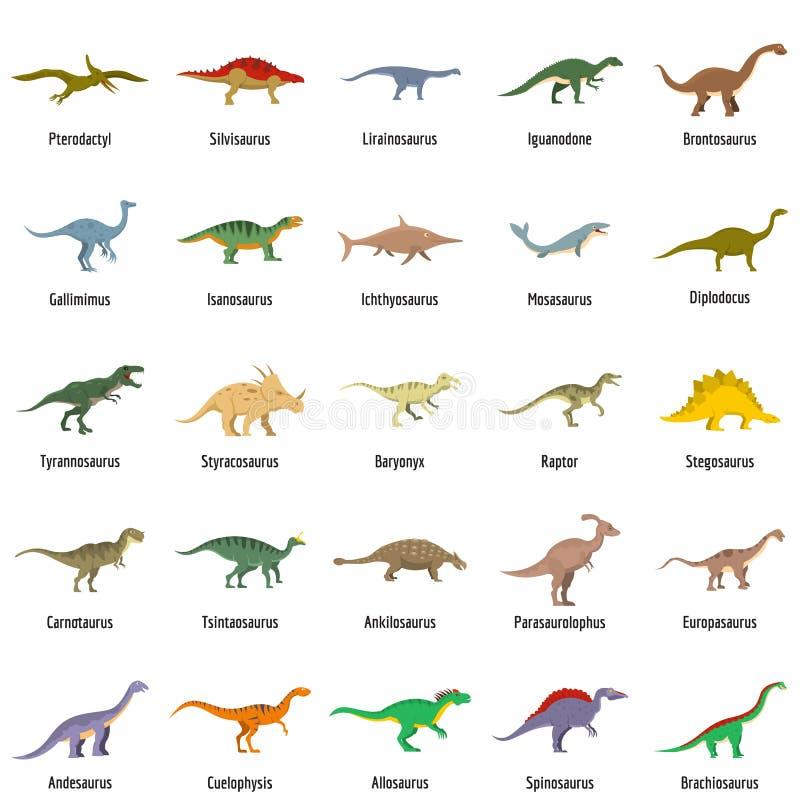 Los iconos animales del vector del dinosaurio del carácter fijaron, estilo plano stock de ilustración