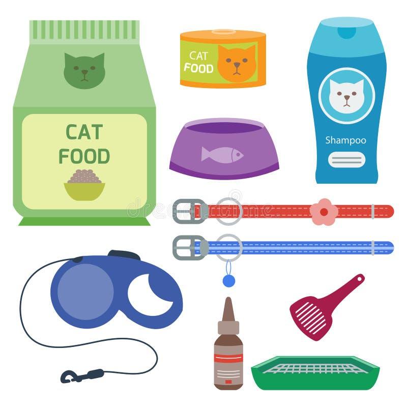 Los iconos animales del vector lindo accesorio colorido del gato acarician el ejemplo felino nacional de la comida del equipo libre illustration