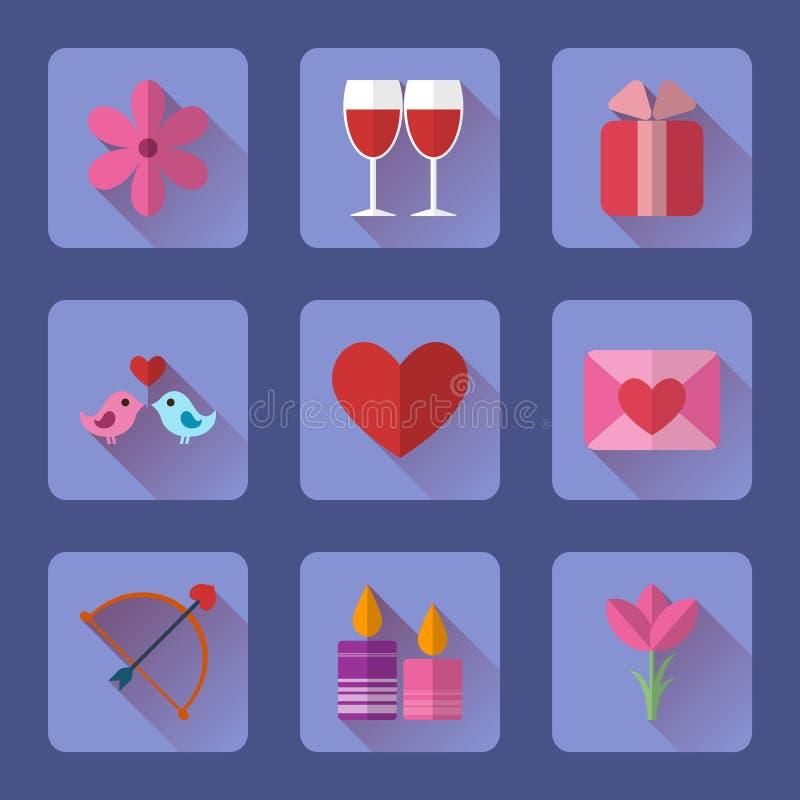 Los iconos azules planos del rectángulo de la tarjeta del día de San Valentín fijaron para los usos del móvil o del sitio web ilustración del vector