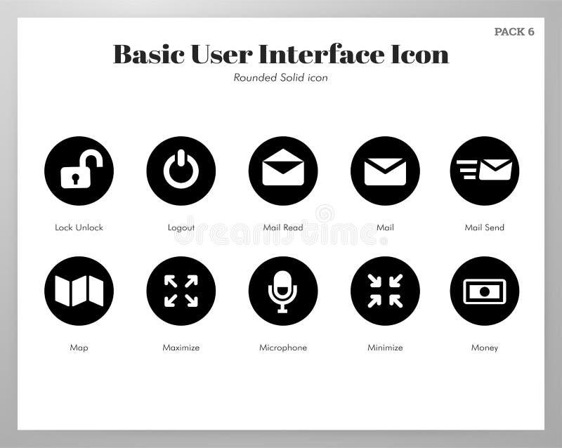 Los iconos básicos de UI redondearon el paquete sólido stock de ilustración