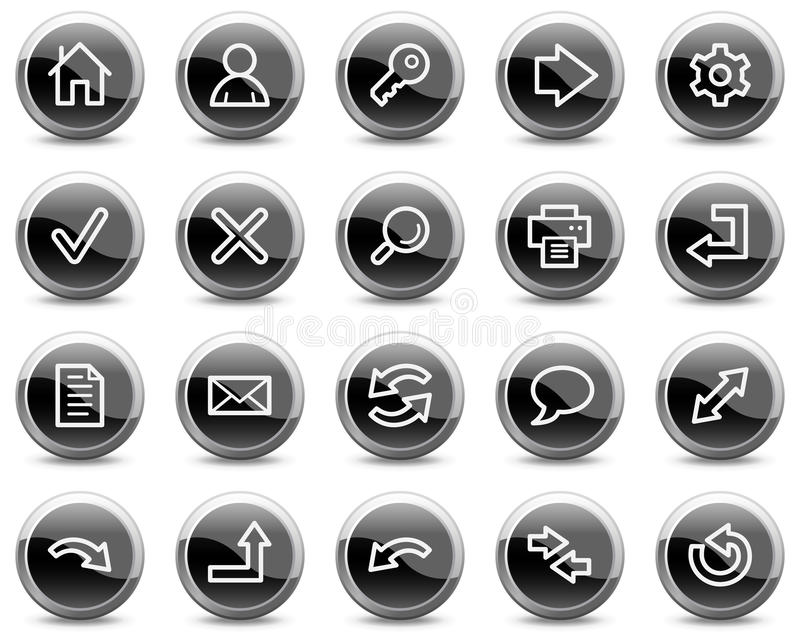 Los iconos básicos del Web, círculo brillante negro abotonan ilustración del vector