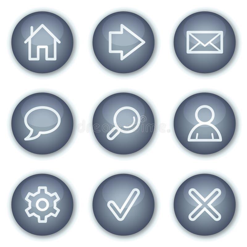 Los iconos básicos del Web, círculo mineral abotonan serie libre illustration