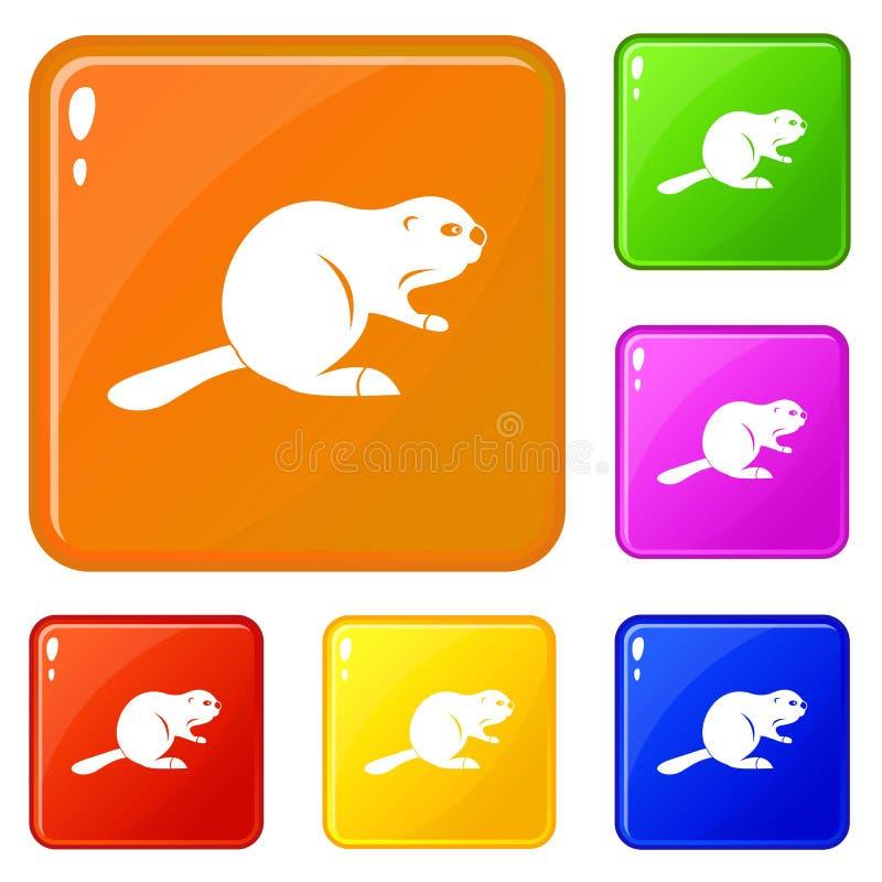 Los iconos canadienses del castor fijaron color del vector stock de ilustración