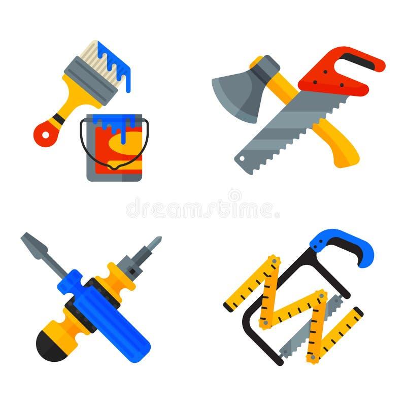 Los iconos caseros de las herramientas de la reparación que trabajan el material de construcción estilo plano de la caja del mact libre illustration