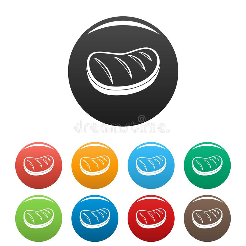 Los iconos cocinados del filete fijaron color libre illustration