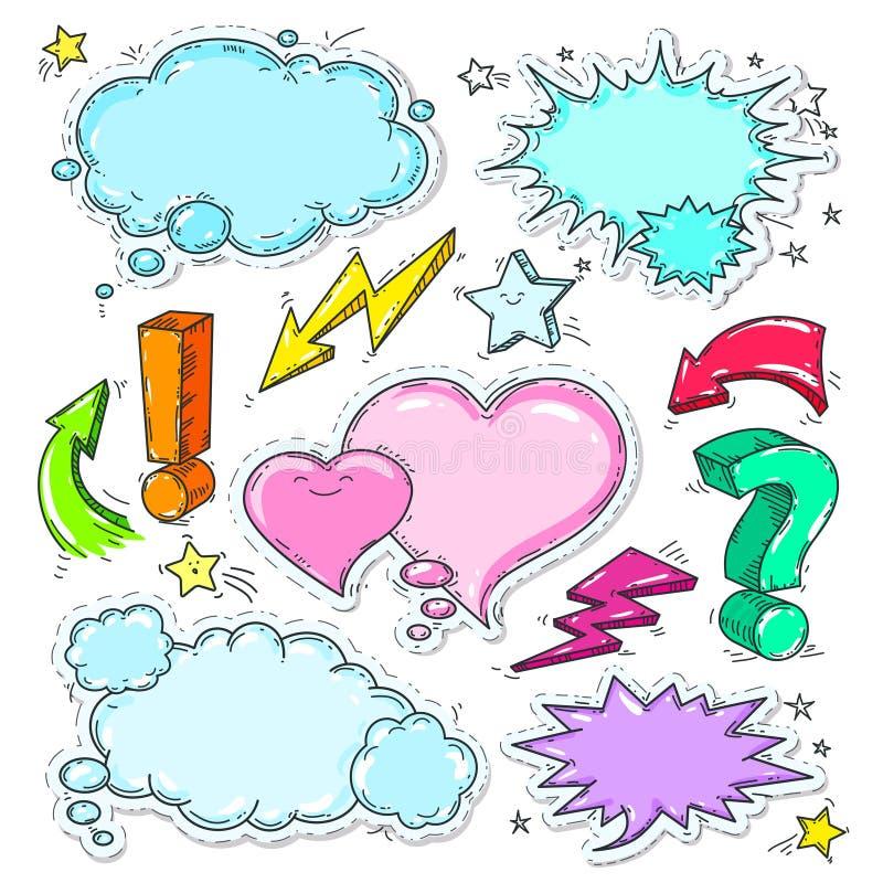 Los iconos coloridos del estilo cómico, sistema de piensan la burbuja y el corazón ilustración del vector