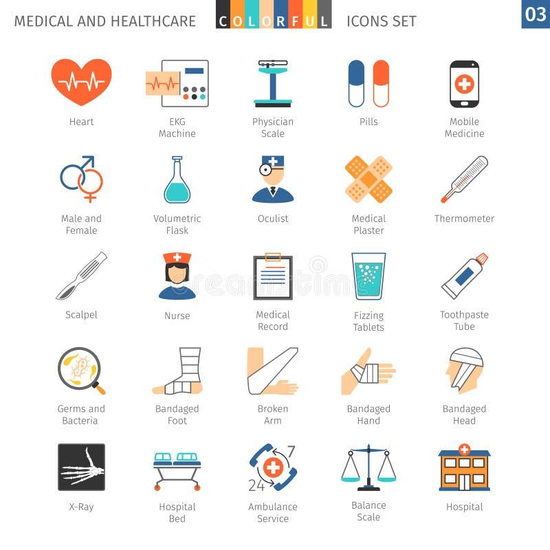 Los iconos coloridos médicos fijaron 03 ilustración del vector
