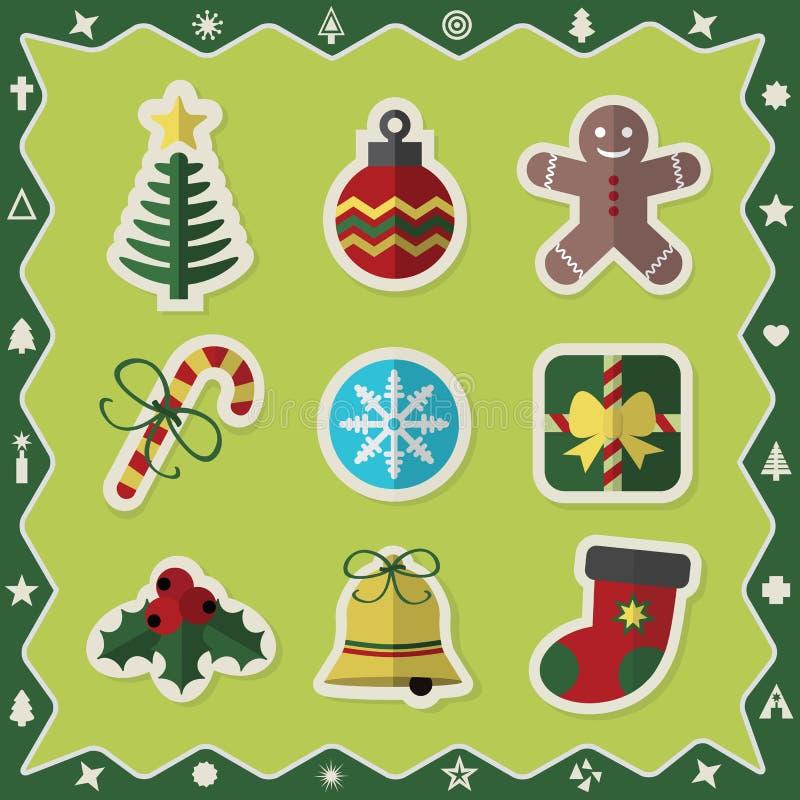 Los iconos coloridos planos de las etiquetas engomadas de la Navidad fijaron en fondo verde ilustración del vector