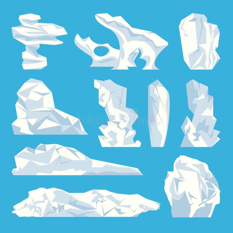 Los iconos congelados duros del agua del iceberg del hielo fijaron vector stock de ilustración