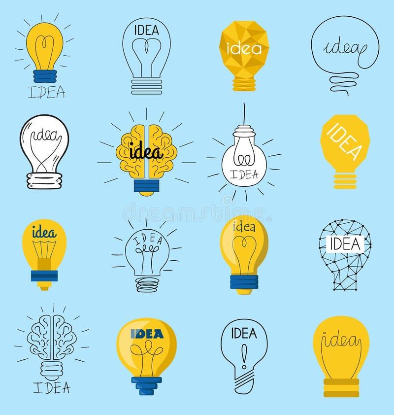 Los iconos creativos del vector del negocio de la idea del concepto dulce de la bombilla diseñan Creatividad eléctrica de la inno ilustración del vector