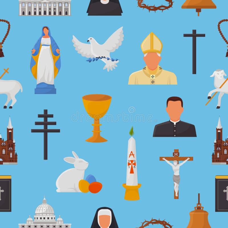 Los iconos cristianos vector las muestras de la religión del cristianismo y las manos religiosas de la cruz de la biblia de Crist libre illustration