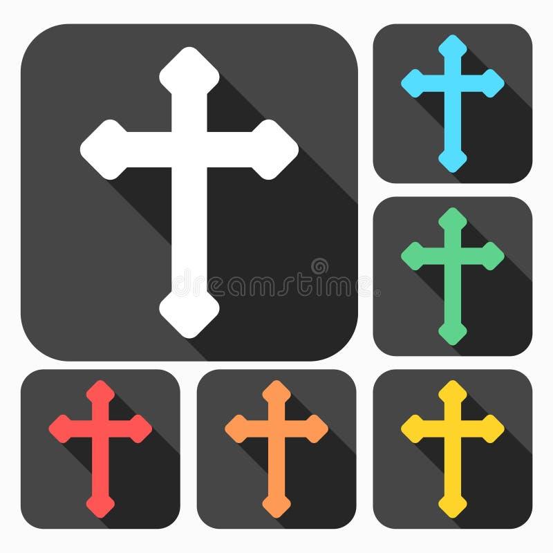 Los iconos cruzados cristianos decorativos fijaron con la sombra larga ilustración del vector