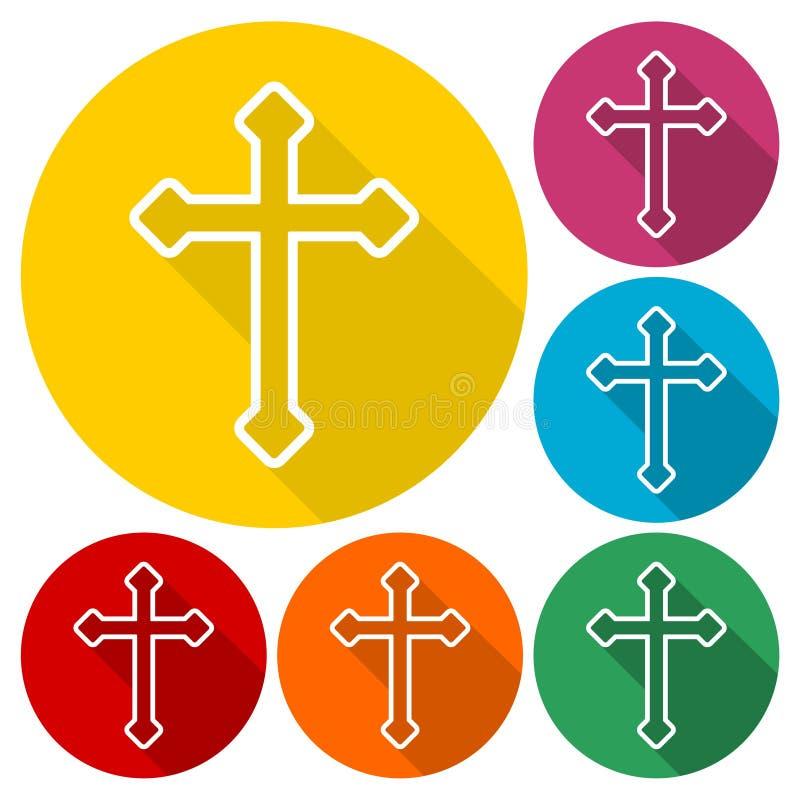 Los iconos cruzados cristianos decorativos fijaron con la sombra larga libre illustration